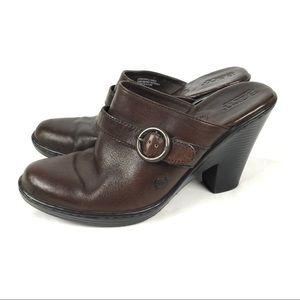 Born leather heeled mule slides slip on closed toe
